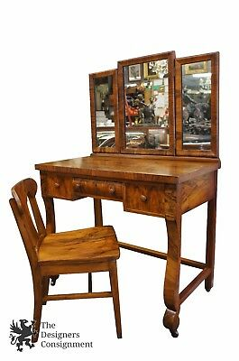 Antique Art Deco Walnut Burled Vanity Desk Dressing Table Trifold Mirror & Chair