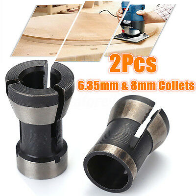 """2pcs 6.35mm + 8mm Electric Router Engraving Trimmer Collet Chuck 3/8"""" 1/4"""" Set"""