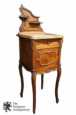 Antique French Louis XV Marble Top Nightstand Side End Table Backsplash Cabinet