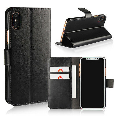 Luxury PU Leather Flip Stand Case Black Cover Slim Quality Credit Card Wallet