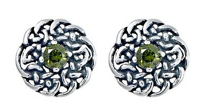 925 Sterling Silver Round Celtic Knot Stud Earring with May Birthstone