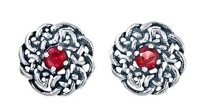 925 Sterling Silver Round Celtic Knot Stud Earring with July Birthstone