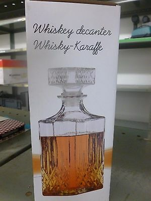 new 1L CRYSTAL DECANTER WHISKY SHERRY LIQUER CUT GLASS DRINKS BRANDY JAR