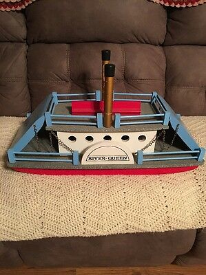 """Vintage 24"""" Wooden River Queen Sidewheel Ferry Steam Boat Made In West Germany"""