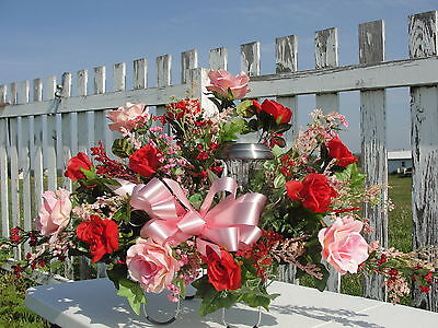 Breast Cancer Solar Light Red Pink Roses Sympathy Cemetery Silk Flower Saddles