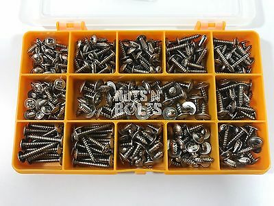 220 ASSORTED PIECE No. 6 8 10 STAINLESS FLANGE POZI PAN SELF TAPPING SCREWS KIT