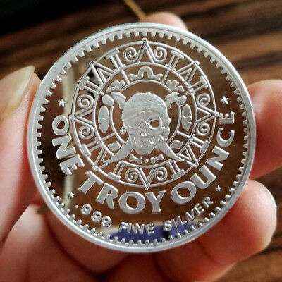 1 Troy oz .999 Fine Silver  Pirates Round Bar Bullion /  SB1K3