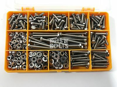 475 Assorted Piece, A2 M4 Fully Threaded Bolts Nuts Washers Screws Stainless Kit