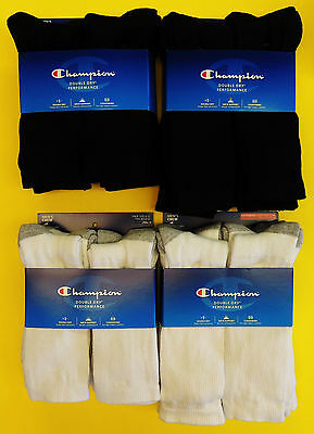 Champion Double Dry Performance Men's CREW Socks SIZE 6-12 & 12-14 NWT 6/Pack