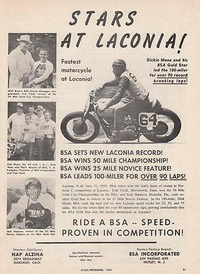 1959 BSA Motorcycle Ad: Stars at Laconia NH Dickie Mann and His BSA Gold Star