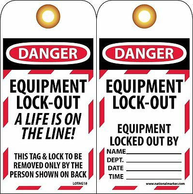 "NMC LOTAG18 Lockout Tag, ""DANGER - EQUIPMENT LOCK-OUT"" 6"" Height x 3"" Width, Unr"