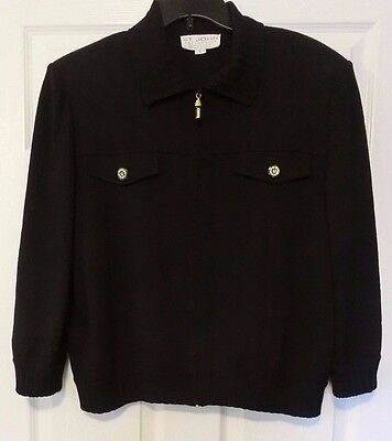 ST. JOHN Collection by Marie Gray Knit Jacket Zip Front Blazer size L Black