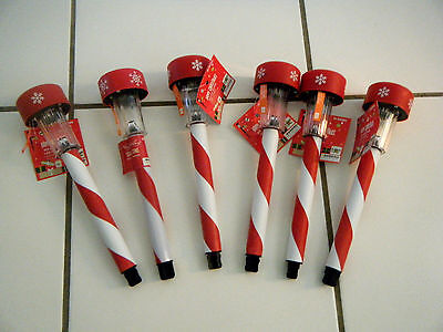 Lot 6 CHRISTMAS Red White Candy Cane Stripe Snowflake Solar Pathway Stake Lights