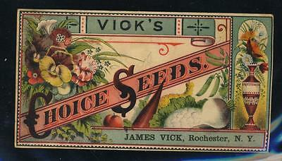 Victorian trade card, Vick's Choice Seeds, James Vick,  Rochester, NY
