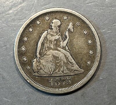 1875 S Seated Liberty 20 Cent Piece    ** FREE U.S SHIPPING **  A411