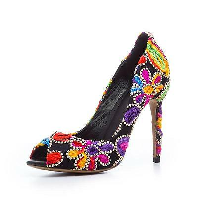 5776ce7b0845 Floral Multi Color Women s High Heel Peep Toe Party Wedding Shoes Stiletto  Pumps