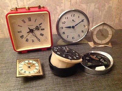Vintage Alarm Clocks Incl Wehrle Westclox All For Spare Parts Or Restoration