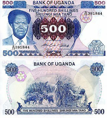 UGANDA 500 Shillings Banknote World Paper Money UNC Currency Pick p22 1983 Bill