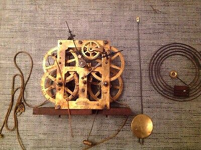 Antique Clock Movement Chiming Waterbury Clock Company Hands And Chime