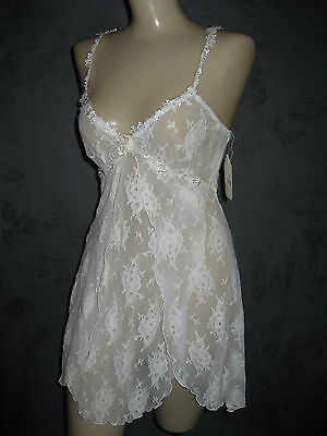 Claire Pettibone Luxury Lingerie Bridal White All Lace Karin Babydoll S NWT $110