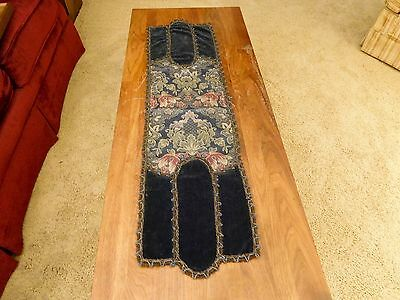 Antique Victorian Velvet & Brocade Table Runner or Mantle Tapestry, VG Condition
