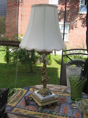 "Vintage Table Lamp W/cherubin Brass Gold Marble White W/ Shade 31"" In Tall"
