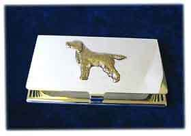 Gordon Setter Silver Business Card Case