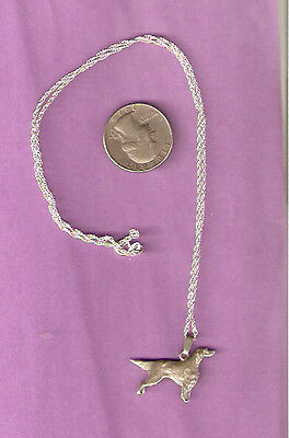 """Irish or English Setter Silver Necklace and Pendant 20"""" Chain"""