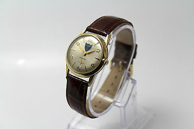 VINTAGE 10K rgp Hamilton National Life Cal 686 17 jewels VG condition, New Band.