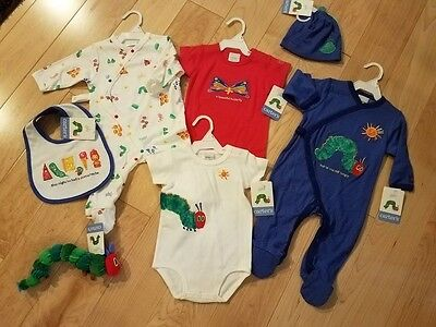 New Carter's ERIC CARLE HUNGRY CATERPILLAR Bib, Sleepers Vintage 3-6 mo