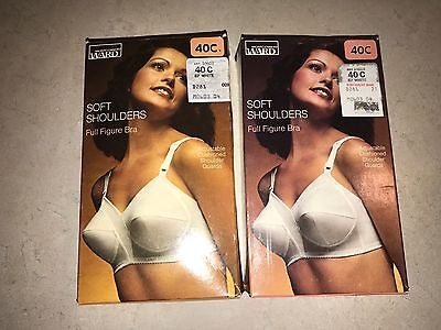 2 Vintage Soft Shoulders Full Figure Bra Montgomery Ward New 40C 10603 White