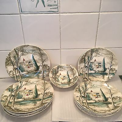 14 X Antique Vintage Johnson Bros DREAM TOWN Plates Bowls Hand engraving