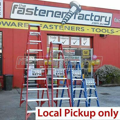 150kg Trade Rated Fibreglass Double Sided Ladder 1.2M 1.8M 2.4M 3M Red Blue