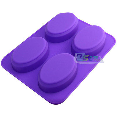 4-cavity Oval Shape Cake Mould Soap Mold Silicone Flexible Chocolate Mold Tray