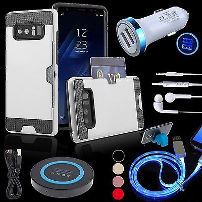 Bundles Card Hybrid Case LED Cable Car Charger QI Pad for Samsung Galaxy Note 8