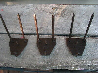 3 RARE Old smoke house meat Hooks Wall  Iron Tack barn rustic hangers vintage