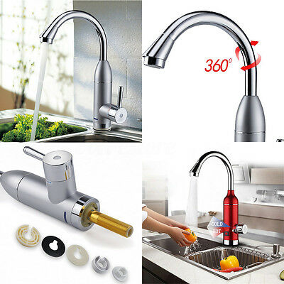 360° Electric Faucet Tap LED Hot Cold Water Heater Heat Instant Bathroom Kitchen
