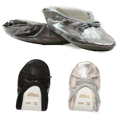 JIFFIES GIRLS CLEARANCE - BLACK / SILVER SPARKLE Kids Flats Dance Slippers Shoes