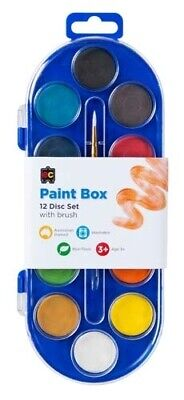 EC Educational Colours Paint Box 12 Disc And Brush - Assorted
