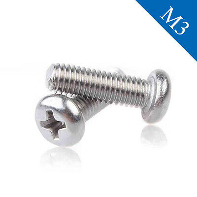 M3 Recessed Phillips Cross Pan Head Machine Screw 3-50mm Bolts  Stainless Steel