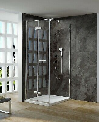 Melbourne 900 Semi Framless Bifold Door Shower Screen 900x900 Large Entry Space