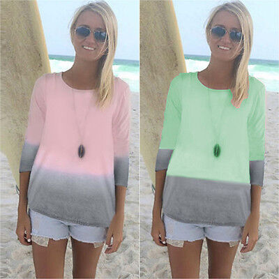 Womens Ombre 3/4 Sleeve T Shirt Loose Tie Dye Casual Tops Tee Blouse Plus Size