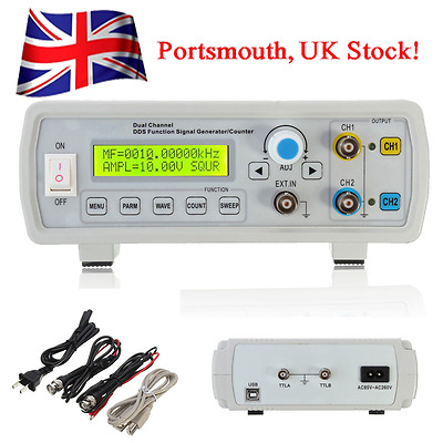 2MHz Dual Channel DDS Function Signal Generator Wave Sweep & Counter UK