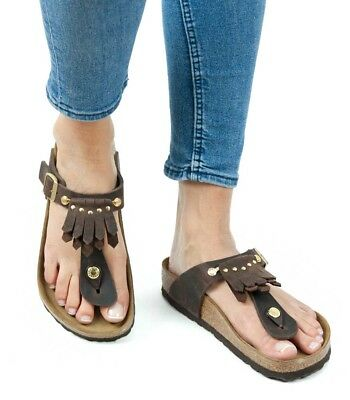 c3233971b12a Birkenstock Sandals Gizeh Kiltie Fringe brown leather regular fit 1006756  NEW