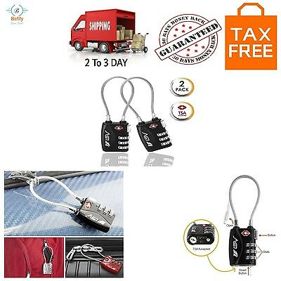 TSA Approved Luggage Travel Lock 2Pk Combination Lock for School Gym Locker New