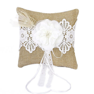 Linen feather Flowers Ring Pillows 20 * 20cm