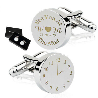 Personalised Mens Wedding Cufflinks Silver Engraved Groom Best Man Gift ALTAR