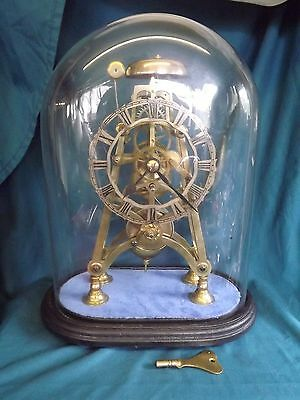 19c Fusee Skeleton Clock & Glass Dome With Passing Strike.