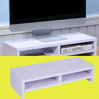 Computer Monitor Riser Laptop Screen TV Desktop Stand Storage Table Shelf White