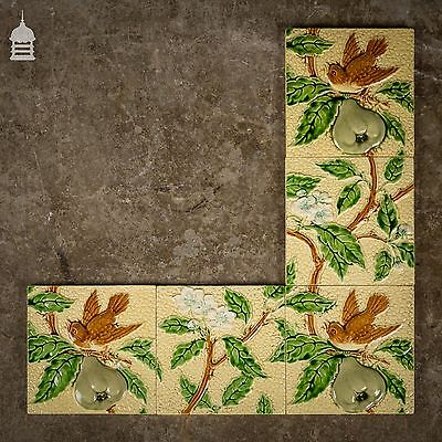 Set of 5 Original Minton Tiles with Birds and Pears